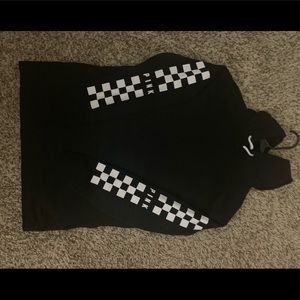 Black checkered sleeve PINK pullover hoodie